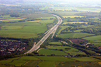 Aerial view of the M4 motorway at the Pyle no 37 Junction south Wales.