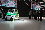 """December 30, 2011, Tokyo, Japan -  Journalist speak to Daihatsu Motor Co. employees next to the """"PICO"""" concept car during the 42nd Tokyo Motor Show. The show opens to the general public from December 3-11. (Photo by Christopher Jue/AFLO)"""