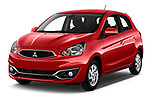 2019 Mitsubishi Spacestar Intense 5 Door Hatchback Angular Front stock photos of front three quarter view