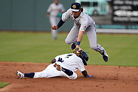 Tyler Tolbert (2) of the Columbia Fireflies steals second base as Alika Williams (6) of the Charleston RiverDogs makes a late tag on Tuesday, May 11, 2021, at Segra Park in Columbia, South Carolina. (Tom Priddy/Four Seam Images)