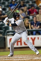 Sacramento River Cats second baseman Luke Hughes #26 at bat during the Pacific Coast League baseball game against the Round Rock Express on May 22, 2012 at The Dell Diamond in Round Rock, Texas. The Express defeated the River Cats 11-5. (Andrew Woolley/Four Seam Images)