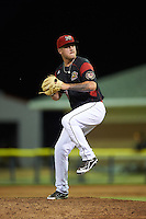 Batavia Muckdogs relief pitcher Marcus Crescentini (44) during a game against the West Virginia Black Bears on June 29, 2016 at Dwyer Stadium in Batavia, New York.  West Virginia defeated Batavia 9-4.  (Mike Janes/Four Seam Images)