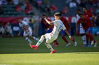 CARSON, CA - FEBRUARY 1: Ulysses Llanez Jr #19 of the United States takes a PK during a game between Costa Rica and USMNT at Dignity Health Sports Park on February 1, 2020 in Carson, California.