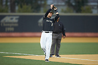 Wake Forest Demon Deacons third baseman Bruce Steel (17) catches a foul pop fly during the game against the against the Notre Dame Fighting Irish at David F. Couch Ballpark on March 10, 2019 in  Winston-Salem, North Carolina. The Fighting Irish defeated the Demon Deacons 8-7 in 10 innings in game two of a double-header. (Brian Westerholt/Four Seam Images)