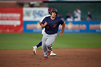 State College Spikes Pedro Pages (43) running the bases during a NY-Penn League game against the Mahoning Valley Scrappers on August 29, 2019 at Eastwood Field in Niles, Ohio.  State College defeated Mahoning Valley 8-1.  (Mike Janes/Four Seam Images)