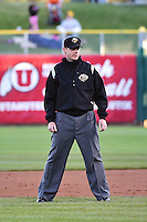 Base umpire Blake Davis during the game as the Sacramento River Cats faced the Salt Lake Bees in Pacific Coast League action at Smith's Ballpark on April 5, 2014 in Salt Lake City, Utah.  (Stephen Smith/Four Seam Images)