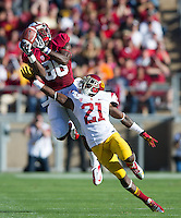 Stanford, Ca - Saturday, September 15, 2012: Ty Montgomery tries to haul in a pass as the Stanford Cardinal defeated the USC Trojans 21-14.