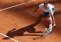 Lo spagnolo Rafael Nadal in azione durante la finale maschile degli Internazionali d'Italia di tennis a Roma, 19 Maggio 2013..Spain's Rafael Nadal in action during the final match of the Italian Open Tennis men's tournament ATP Master 1000 in Rome, 19 May 2013..UPDATE IMAGES PRESS/Riccardo De Luca