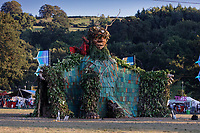 Pictured: The Green Man statue. Sunday 22 August 2021<br /> Re: Green Man Festival near Crickhowell, Wales, UK.