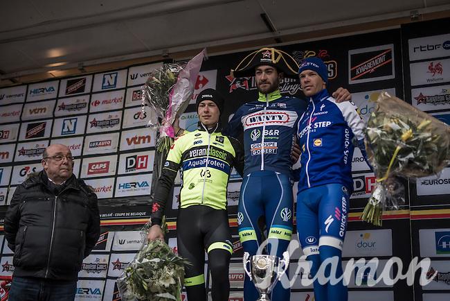 race winner Guillaume van Keirsbulck (BEL/Wanty-Groupe Gobert) winged on the podium by:<br /> 2/ Alex Kirsch (LUX/WB Veranclassic - Aqua Protect)<br /> 3/ Iljo Keisse (BEL/QuickStep Floors)<br /> <br /> GP Le Samyn 2017 (1.1)