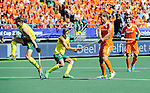 The Hague, Netherlands, June 15: (L-R) Eddie Ockenden #11 of Australia and Jacob Whetton #12 of Australia defend against Jeroen Hertzberger #11 of The Netherlands during the field hockey gold match (Men) between Australia and The Netherlands on June 15, 2014 during the World Cup 2014 at Kyocera Stadium in The Hague, Netherlands. Final score 6-1 (2-1)  (Photo by Dirk Markgraf / www.265-images.com) *** Local caption ***