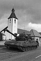 - NATO exercises in Germany, Canadian Army Leopard tank in a village (October 1984)....- esercitazioni NATO in Germania, carri armati Leopard dell'Esercito Canadese in un villaggio (ottobre 1984)