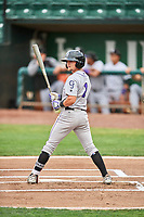 Hunter Stovall (1) of the Grand Junction Rockies bats against the Ogden Raptors at Lindquist Field on July 25, 2018 in Ogden, Utah. The Rockies defeated the Raptors 4-0. (Stephen Smith/Four Seam Images)