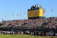 18th July 2021; Royal St Georges Golf Club, Sandwich, Kent, England; The Open Championship Golf, Day Four; a view of the main scoreboard and grandstands above the 18th green
