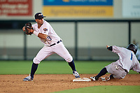 Lakeland Flying Tigers second baseman Anthony Pereira (9) attempts to turn a double play during a game against the Tampa Tarpons on April 5, 2018 at Publix Field at Joker Marchant Stadium in Lakeland, Florida.  Tampa defeated Lakeland 4-2.  (Mike Janes/Four Seam Images)