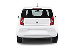 Straight rear view of a 2014 Seat MII Style 5 Door Hatchback 2WD Rear View  stock images