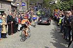 The tail end of the peloton climbs Molenberg during the 96th edition of The Tour of Flanders 2012, running 256.9km from Bruges to Oudenaarde, Belgium. 1st April 2012. <br /> (Photo by Eoin Clarke/NEWSFILE).