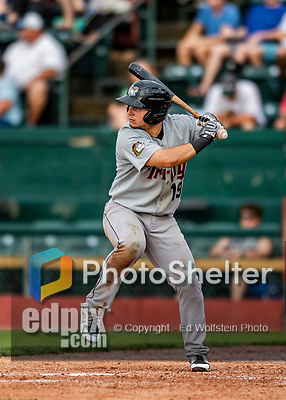 21 July 2019: Tri-City ValleyCat outfielder Wilyer Abreu in action against the Vermont Lake Monsters at Centennial Field in Burlington, Vermont. The Lake Monsters rallied to defeat the ValleyCats 6-3 in NY Penn League play. Mandatory Credit: Ed Wolfstein Photo *** RAW (NEF) Image File Available ***