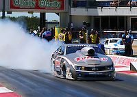 Sept. 21, 2013; Ennis, TX, USA: NHRA pro stock driver Jason Line during the Fall Nationals at the Texas Motorplex. Mandatory Credit: Mark J. Rebilas-