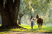 Young woman walks with horse under massive live oak tree..