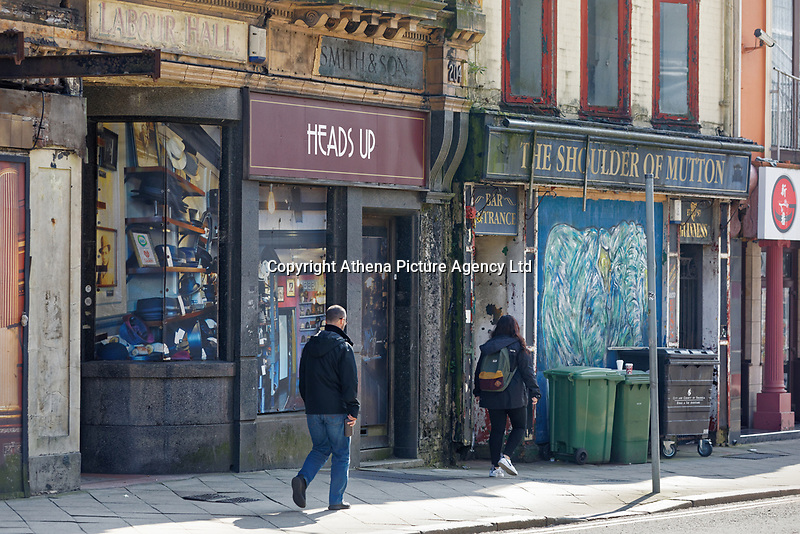 Pictured: Boarded up properties in the High Street, Swansea, Wales, UK.<br /> Re: The owner of The White Swan pub is closing down after anti-social behaviour, violence, drugs and prostitution in the High Street, Swansea, Wales, UK.