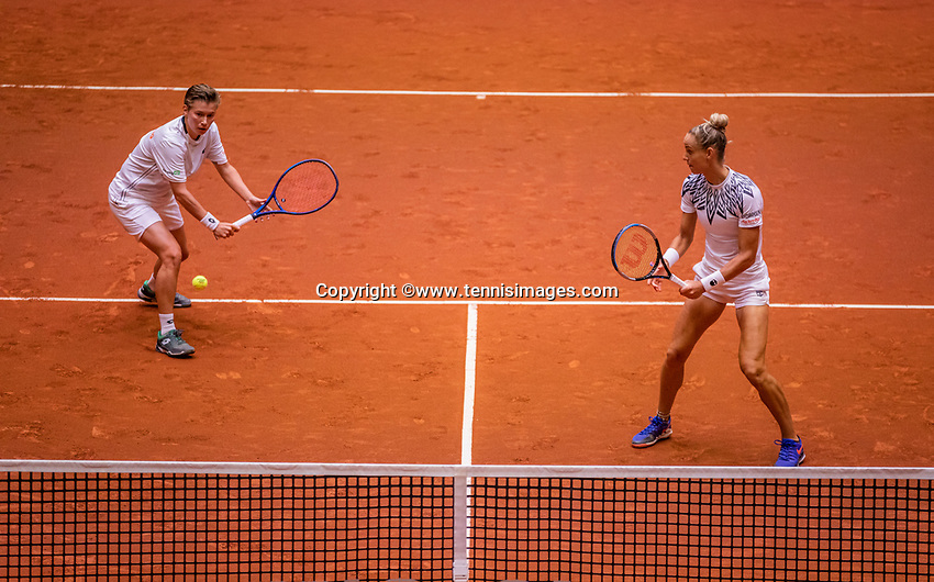 Den Bosch, The Netherlands, April 17, 2021,    Maaspoort, Billie Jean King Cup  Netherlands -  China , seccond day doubles match: Arantxta Rus (NED) and Demi Schuurs (NED) <br /> Photo: Tennisimages/Henk Koster