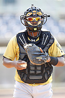 June 24, 2009:  Catcher Miguel Mendez of the State College Spikes during a game at Eastwood Field in Niles, OH.  The Spikes are the NY-Penn League Short-Season A affiliate of the Pittsburgh Pirates.  Photo by:  Mike Janes/Four Seam Images