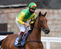 Supersonique ridden by Cieran Fallon goes down to the start of  The Crouch's Down Maiden Auction Fillies Stakes during Horse Racing at Salisbury Racecourse on 13th August 2020