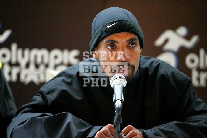 Meb Keflezighi answers questions at a press conference following the 2008 Men's Olympic Trials Marathon on November 3, 2007 in New York, New York.  The race began at 50th Street and Fifth Avenue and finished in Central Park.  Ryan Hall won the race with a time of 2:09:02.