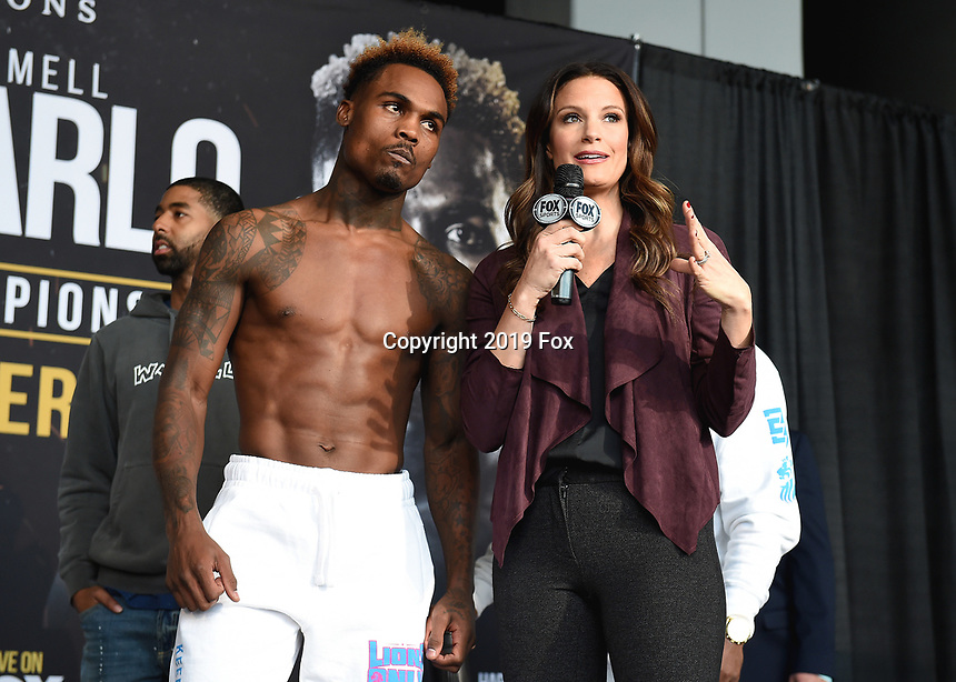 "ONTARIO - DECEMBER 20:  Jermell Charlo and Heidi Androl at  the weigh in for the December 21 fight on the Fox Sports PBC ""Harrison v Charlo"" on December 20, 2019 in Ontario, California. (Photo by Frank Micelotta/Fox Sports/PictureGroup)"