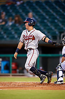 Mississippi Braves shortstop Dylan Moore (8) follows through on a swing during a game against the Montgomery Biscuits on April 26, 2017 at Montgomery Riverwalk Stadium in Montgomery, Alabama.  Montgomery defeated Mississippi 5-2.  (Mike Janes/Four Seam Images)