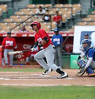 Jose De la Cruz participates in the MLB Showcase at the Estadio Quisqeye Juan Marichal on February 21-22, 2018 in Santo Domingo, Dominican Republic.