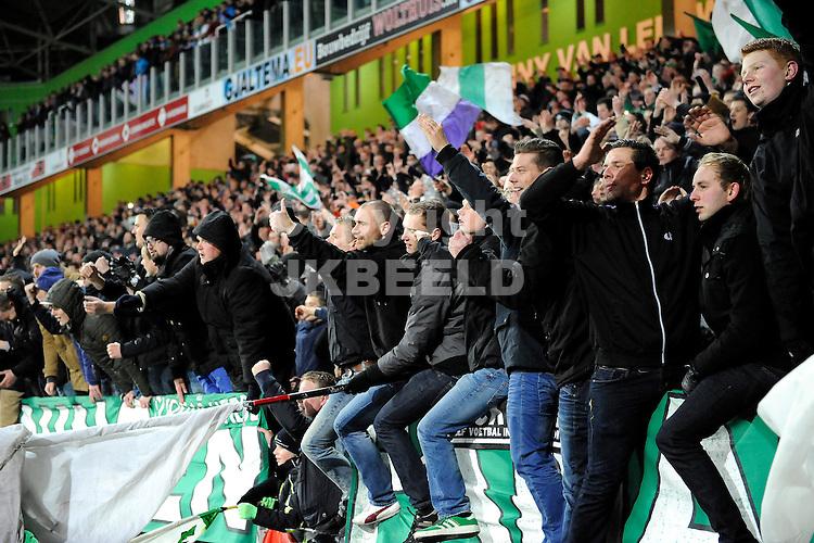 GRONINGEN - Voetbal, FC Groningen - Vitesse, KNVB beker, Euroborg, seizoen 2014-2015, 28-01-2015,  de fans vieren de zege