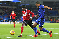 Lee Peltier of Cardiff City is challenged by Dominic Iorfa of Ipswich during the Sky Bet Championship match between Cardiff City and Ipswich Town at The Cardiff City Stadium, Cardiff, Wales, UK. Tuesday 31 October 2017