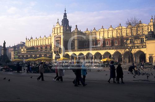 Krakow, Poland. Stare Miasto; Old Town square with market stalls, the Cloth Hall (Sukiennice).