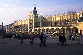Krakow, Poland. Stare Miasto; Old Town square with market stalls, the Cloth Hall (Sukiennice).