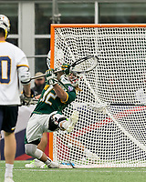 Foxborough, Massachusetts - May 27, 2018: NCAA Division II tournament final. Merrimack College (white/blue) defeated Saint Leo University (green/white), 23-6, at Gillette Stadium.<br /> Goal.