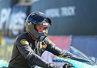 Aug 21, 2016; Brainerd, MN, USA; NHRA pro stock motorcycle rider Jerry Savoie during the Lucas Oil Nationals at Brainerd International Raceway. Mandatory Credit: Mark J. Rebilas-USA TODAY Sports