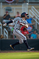 Braden Shewmake (39) of the Rome Braves follows through on his swing against the Kannapolis Intimidators at Kannapolis Intimidators Stadium on July 2, 2019 in Kannapolis, North Carolina.  The Intimidators walked-off the Braves 5-4. (Brian Westerholt/Four Seam Images)