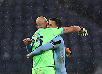 Football Soccer: UEFA Champions League -Group Stage-  Group F - S.S:Lazio vs Club Brugge KV Olympic stadium, Rome, 8 December, 2020.<br /> Lazio's goalkeeper Pepe Reina (l) celebrates with Luis Felipe (r) at the end the Uefa Champions League football soccer match between Lazio and Club Brugge at Olympic stadium in Rome, on December 8, 2020. The game ended in a 2-2 draw.<br /> UPDATE IMAGES PRESS/Isabella Bonotto