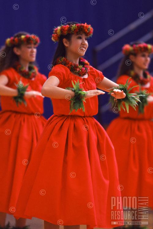 Wahine Kahiko Performance at Hawai'i Secondary Schools Hula Kahiko Competition