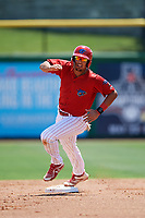 Clearwater Threshers first baseman Darick Hall (21) runs the bases during a game against the Lakeland Flying Tigers on May 2, 2018 at Spectrum Field in Clearwater, Florida.  Clearwater defeated Lakeland 7-5.  (Mike Janes/Four Seam Images)