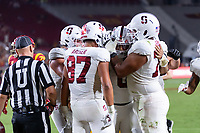 LOS ANGELES, CA - SEPTEMBER 11: Isaiah Sanders, Offense during a game between University of Southern California and Stanford Football at Los Angeles Memorial Coliseum on September 11, 2021 in Los Angeles, California.