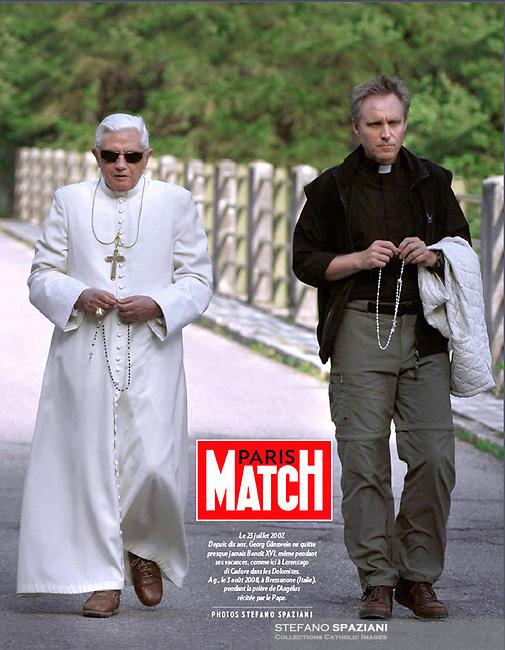 Paris Match France Magazine.<br /> Pope Benedict XVI Monsignor Georg Gänswein. Photograph by Stefano Spaziani