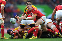 Man of the Match Gareth Davies of Wales passes during Match 35 of the Rugby World Cup 2015 between Australia and Wales - 10/10/2015 - Twickenham Stadium, London<br /> Mandatory Credit: Rob Munro/Stewart Communications
