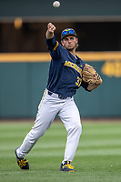 Michigan Wolverines pitcher Karl Kauffmann (37) warms up before Game 6 of the NCAA College World Series against the Florida State Seminoles on June 17, 2019 at TD Ameritrade Park in Omaha, Nebraska. Michigan defeated Florida State 2-0. (Andrew Woolley/Four Seam Images)