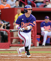 First baseman Jon McGibbon (12) of the Clemson Tigers in a game against the South Carolina Gamecocks on March 3, 2012, at Carolina Stadium in Columbia, South Carolina. Carolina won, 9-6. (Tom Priddy/Four Seam Images)