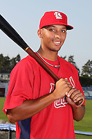 Batavia Muckdogs outfielder Nick Longmire poses for a photo in a Cardinals uniform before a game vs. the State College Spikes at Dwyer Stadium in Batavia, New York July 17, 2010.   Batavia defeated State College 12-11 in 11 innings.  Photo By Mike Janes/Four Seam Images