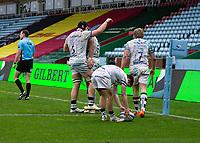 26th December 2020; Twickenham Stoop, London, England; English Premiership Rugby, Harlequins versus Bristol Bears; Dan Thomas of Bristol Bears scorer of the first try celebrates with team mates