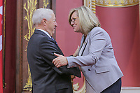 Francine Charbonneau is sworn in as Ministre responsable des Aines et de la Lutte contre líintimidation (Minister responsible for Seniors and Anti-Bullying) of the new Liberal cabinet at the National Assembly in Quebec city October 11, 2017.<br /> <br /> PHOTO :  Francis Vachon - Agence Quebec Presse